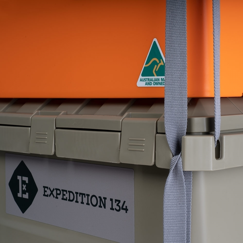 Expedition134 Heavy Duty Plastic Storage Box 55L - External tie-down points allow lashing of multiple boxes