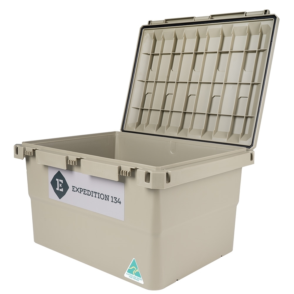 Expedition134 Heavy Duty Plastic Storage Box 55L - Unique injection moulding and design makes for a tough lid with 120 Kg weight rating