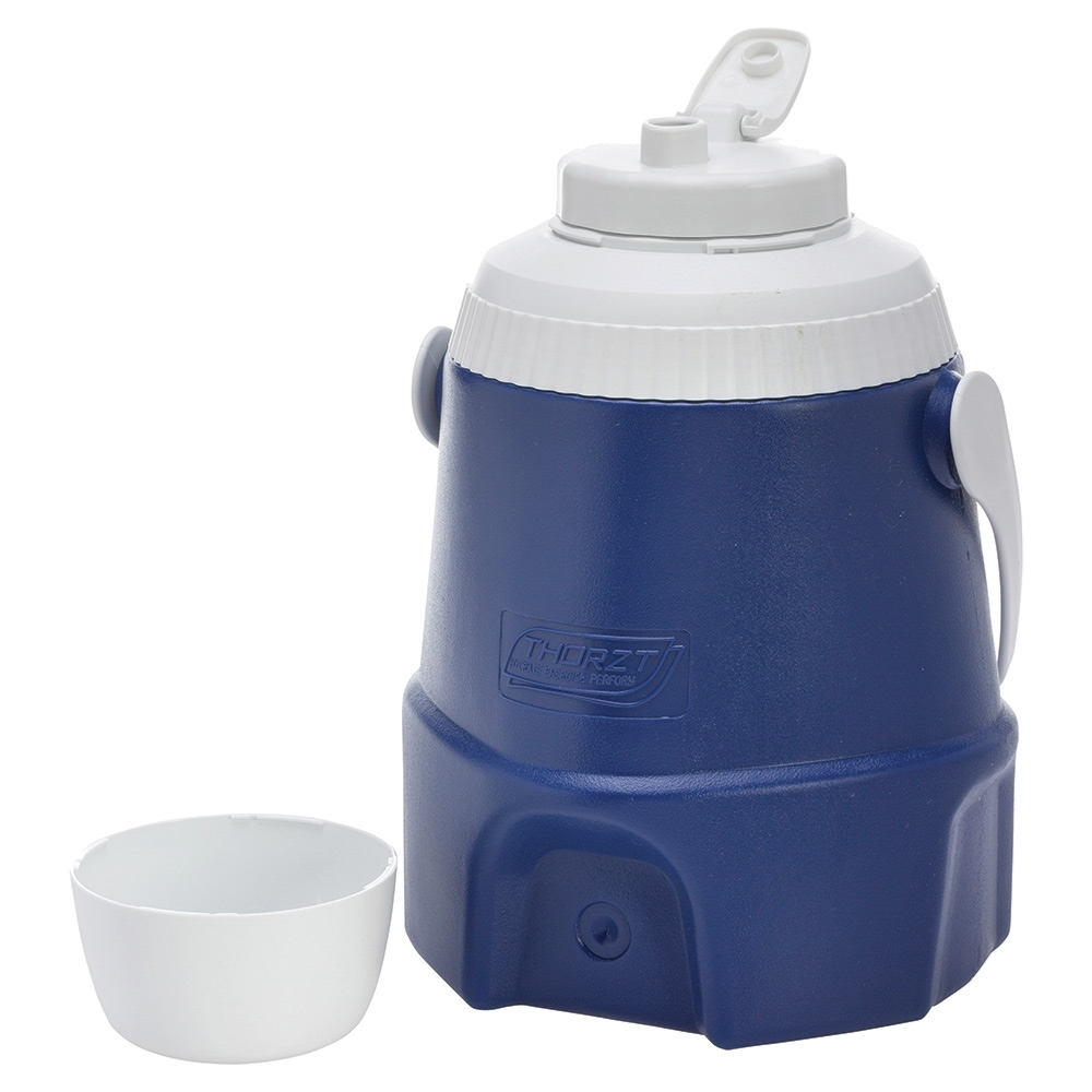 Thorzt Drinks Cooler 5L - No Tap Blue - Dual screw top lid to give wide access for ease of cleaning and filling with ice